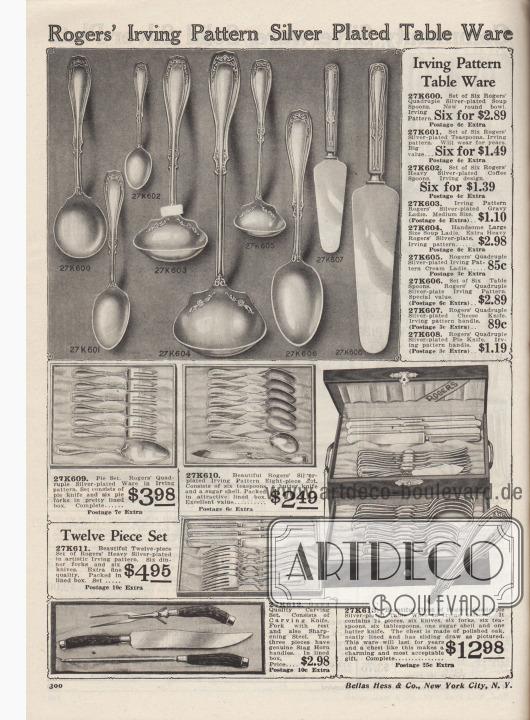 """""""Versilberte Tischartikel mit Irving-Muster von Rogers"""" (engl. """"Rogers' Irving Pattern Silver Plated Table Ware""""). Tischbestecke, Kuchenbestecke und Tranchierbestecke aus kunstvoll graviertem, versilbertem Metall in Schachteln, Besteckkoffern oder einzeln bestellbar. Zu den Bestecken gehören Messer, Gabeln, Löffel, Teelöffel, Kaffeelöffel, Kuchengabeln, Buttermesser bzw. Butterstreichmesser, Suppenlöffel bzw. Schöpfkellen, Saucenkellen, Sahnekellen, Käsemesser und Tortenheber. Das Tranchier-Set besteht aus einem Tranchiermesser, einer Tranchiergabel mit Stütze und Wetzstahl zum Schärfen."""