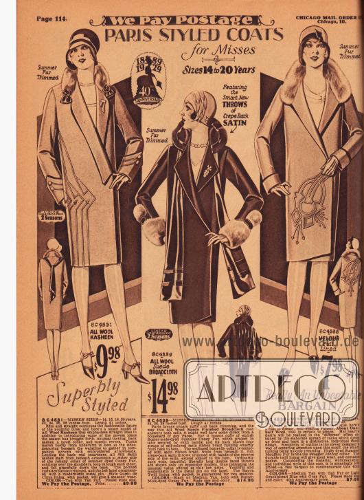 """""""Nach Pariser Mode gearbeitete Mäntel für junge Frauen von 14 bis 20 Jahre"""" (engl. """"Paris Styled Coats for Misses – Sizes 14 to 20 Years""""). Die Frühjahrsmäntel für Backfische (junge Frauen) sind aus Woll-Kasha, Woll-Velour-Brokat und reinem Velours gefertigt. Sommerpelze von Kaninchen und Mufflon (Wildschaf) wurden zur Verbrämung von Kragen und Unterärmeln verwendet. Abgesteppte Biesen ergeben die dekorative Aufmachung an den äußeren beiden Frühjahrsmänteln seitlich (linkes Modell) und im Schoß (rechtes Modell)."""