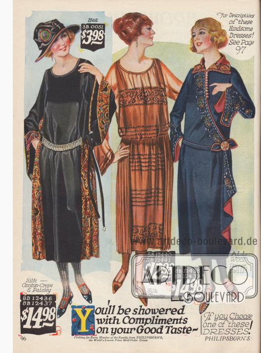 """Das erste Modell ist aus Seiden-Krepp mit aufgenähten Seidenborten in Paisley Musterung. Die glockig weit aufgehenden Ärmel sind das besonders """"anmutige"""" Charakteristikum dieses Kleides.Das mittlere Kleid ist aus Seiden-Georgette. Die aufgestickten Perlen und angenähten Seitenpanele machen aus dem Kleid ein besonders kleidsames Modell.Das letzte Kleid ist aus Woll-""""Poiret Twill"""" genäht und mit bäuerlichen Stickereien verziert."""