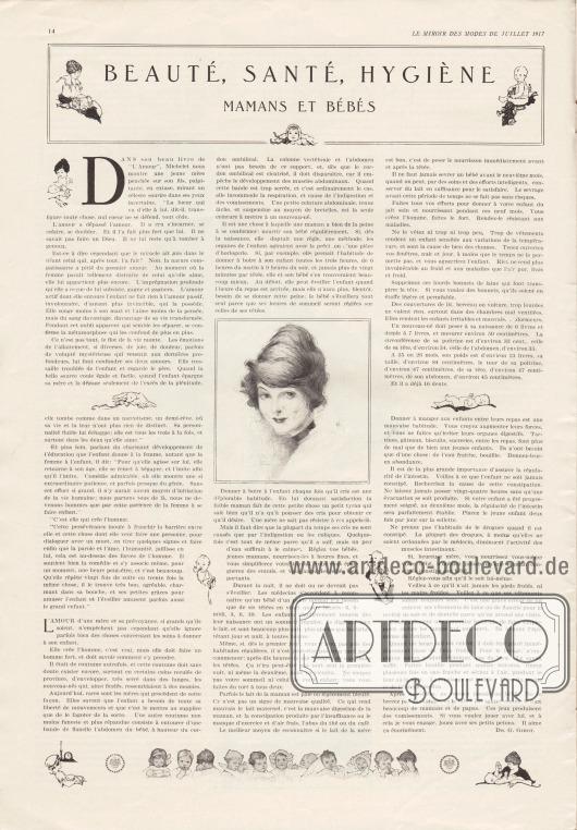 "Artikel: Gibot, Dr. G., Beauté, Santé, Hygiène. Mamans et Bébés (dt. ""Schönheit, Gesundheit, Hygiene. Mütter und Babys"")."