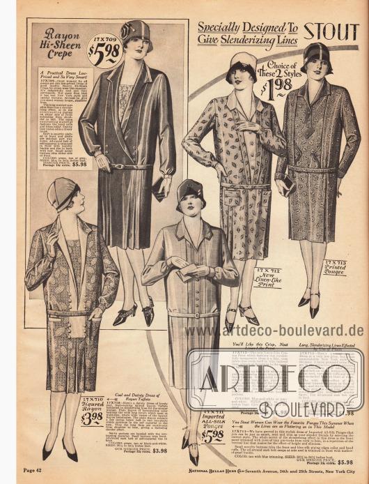 Damenkleider für stärker gebaute Frauen aus Rayon Krepp, bedruckter leinenartiger Baumwolle, Baumwoll-Seide, Rayon-Taft und reiner Seide. Die Röcke sind auffällig länger geschnitten, als die Kleider für schlanke Frauen. Besonders beliebt sind Westeneinsätze, die an drei Modellen zu finden sind.