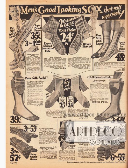 Anzugsocken für Herren mit Musterungen und ungemustert aus Rayon, merzerisiertem Baumwollgarn, Rayon und Seide sowie reiner Seide. Die Fersen-, Sohlen- und Zehenbereiche sind verstärkt. Unten auf der Seite befinden sich dickere Socken aus Baumwolle sowie Knie lange Golfsocken mit gesticktem Bündchen.