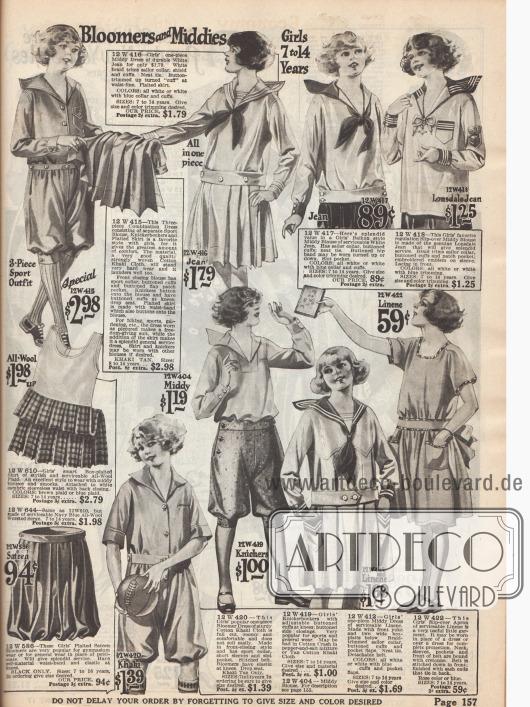 Sportkleidung für Mädchen. Die Seite zeigt Blusen, teilweise im Matrosen-Stil, Knickerbockerhosen und Röckchen aus Wollstoffen, Kaki, Baumwolle und Leinen.