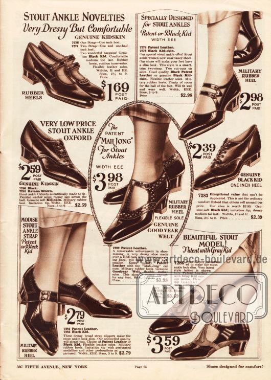 """Oxfords und Schnallenschuhe aus Lackleder oder Chevreauleder (Ziegenleder) speziell für Damen mit breiten Sohlen (engl. """"Stout Ankle Novelties"""").Die Schuhe zeigen niedrige Gummiabsätze oder breite, dicke, aber etwas höhere Militärabsätze (engl. """"military heel""""). In der Mitte der Seite befindet sich ein Schuhpaar mit T-Schnalle, das mit dem sog. """"Goodyear Welt"""" Produktionsprozess hergestellt wurde und die derzeit sehr populäre """"Mah Jong"""" Ausstanzung zeigt."""