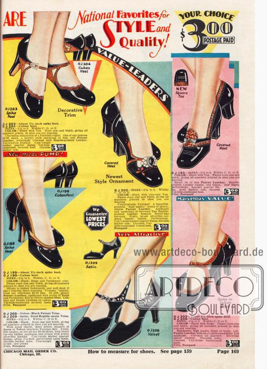 Pumps und Schnallenschuhe für Damen aus Lackleder und auch Samt. Einzelne Paare sind mit hellerem, reptilienartig genarbtem Leder kombiniert und verarbeitet worden. Perforationen, Ausstanzungen, kleine Schleifen, Broschen und zierliche Schließen machen die Eleganz der Schuhe aus. Alle Schuhe zeigen abgerundete Kappen. Kubanische sowie hohe, spitze Absätze sind en vogue.