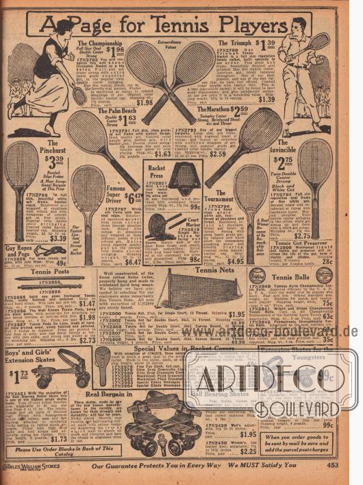 """""""Eine Seite für Tennis Spieler"""" (engl. """"A Page for Tennis Players""""). Tennisschläger aus Hartholz, Eschenholz, Hartriegel- sowie Zedernholz, Tennisschläger-Pressen, einem Gerät zur Markierung von Tennisplätzen, Tennispfosten, Tennisnetze, Tennisbälle und Hüllen für Tennisschläger. Ganz unten werden Rollschuhe für die ganze Familie offeriert."""