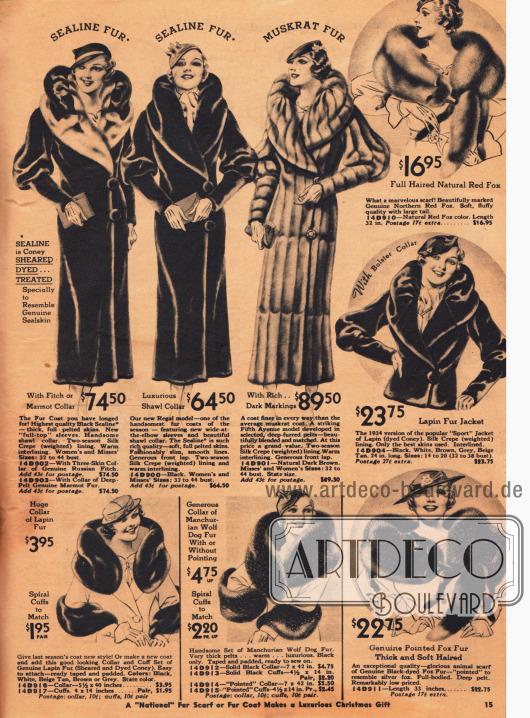 Echte Pelzmäntel und Pelzschals zu horrenden Preisen bis 89,50 $ zuzüglich Versandkosten.