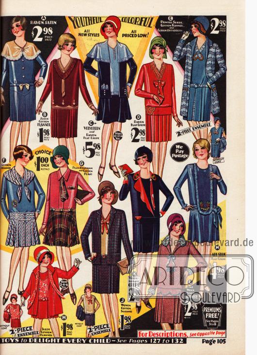 Elegante und sportliche Kleider sowie Ensembles für Mädchen im Alter von 7 bis 14 Jahre. Die Kleider sind aus Rayon-Satin, Baumwoll-Flanell, Rayon Krepp, Baumwoll-Seide, Gingham und Baumwolle, Woll-Krepp, Woll-Kaschmir und Seiden Krepp hergestellt. Die Ensemble bestehen aus Samt und Rayon Krepp (oben Mitte), Baumwoll-Flanell und Baumwoll-Breitgewebe (oben rechts) und Baumwollgewebe (unten Mitte). Unten rechts findet sich noch ein Ensemble für Kleine Mädchen von 2 bis 6 Jahre aus rotem Baumwoll-Flanell.