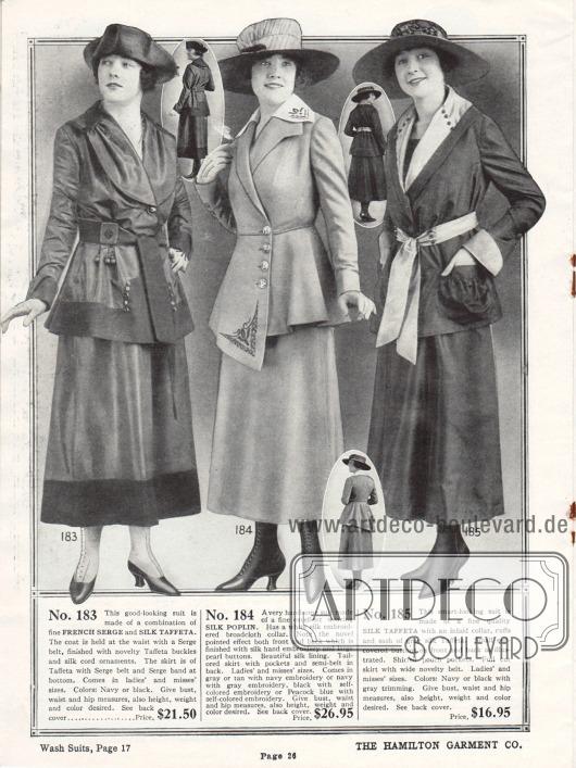 Kostüme der mittleren bis oberen Preisklasse aus französischer Woll-Serge und glänzendem Seiden-Taft, Seiden-Popeline und nochmals Seiden-Taft. Das erste Kostüm erhält seinen Charme durch den Oberflächenkontrast des glänzenden Tafts und dem stumpfen Serge. Die Jacke des zweiten Kostüms ist einseitig verlängert und ebenso wie der Kragen bestickt. Auch das letzte Modell nutzt den Kontrast zwischen dem dunklen Seiden-Taft und hellerem Seiden-Taft an Kragen, Ärmelaufschlägen und dem Gürtel.