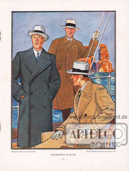 """""""Moderne Ulster"""": Zwei doppelreihige Ulstermäntel (einer mit und einer ohne Gürtel) und ein Ulster mit verdeckter Knopfleiste. Zeichnung: Harald Schwerdtfeger."""