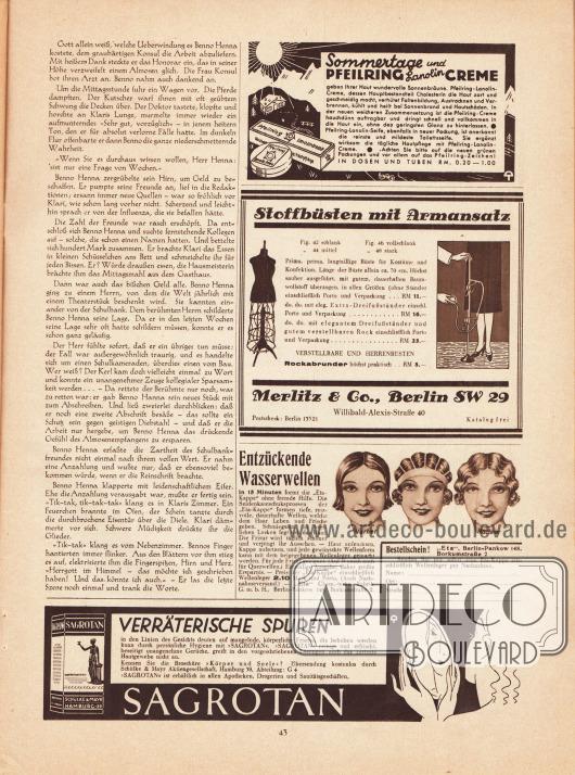 """Artikel:Roda Roda, Benno Henna.Werbung:Sommertage und Pfeilring Lanolin Creme geben ihrer Haut wundervolle Sonnenbräune&#x3B;Stoffbüsten mit Armansatz, Merlitz & Co. Berlin SW 29, Willibald-Alexis-Straße 40&#x3B;Entzückende Wasserwellen, """"Eta"""" Chem.-techn. Fabrik GmbH, Berlin-Pankow 148, Borkumstraße 2&#x3B;Sagrotan, Schülke & Mayr AG, Hamburg 39."""