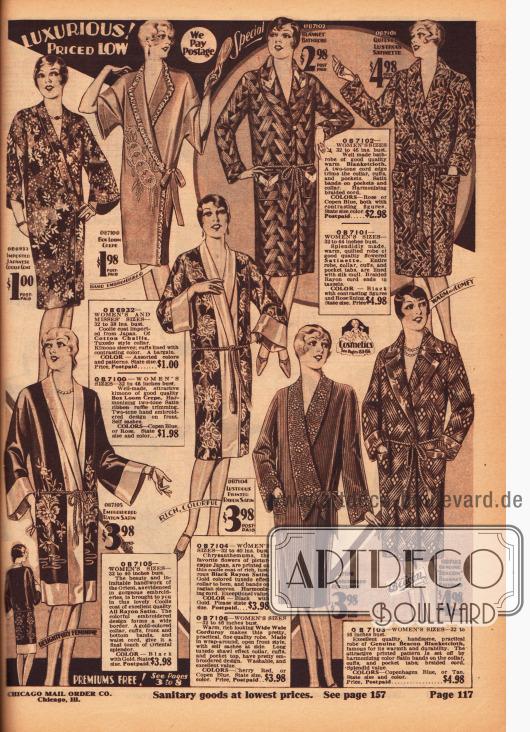"""Morgenroben, Kimonos und Bademäntel für Frauen aus Baumwollstoffen, """"Box Loom Crepe"""", dickem Wollstoff, Satin, Rayon-Satin und Kordstoff. Einige Mäntel und Roben bestehen aus bedruckten, gemusterten sowie bestickten Stoffen und zeigen orientalische, fernöstliche oder ornamentale Musterungen. Einzelne Roben werden mit einem Seil (Kordel) als Gürtel geliefert. Oben rechts befindet sich ein """"coolie coat"""", der direkt aus Japan importiert wurde."""