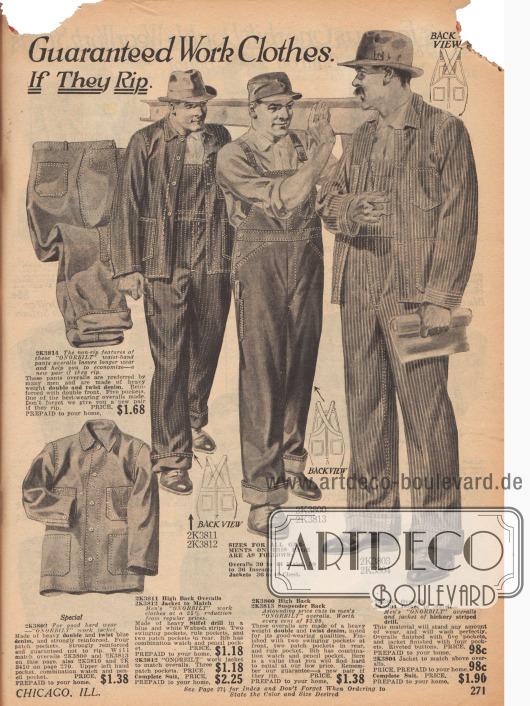 """Doppelseite mit Overalls, Jacken, Arbeitshosen und Hemden aus verstärktem """"denim"""" (Jeansstoff) für Männer. Dreifachnähte, reißfeste Knopflöcher, rostfreie Knöpfe und durchgehende Mehrfachnähte (Mitte links) versprechen dauerhafte Dienstbarkeit der Arbeitskleidung."""