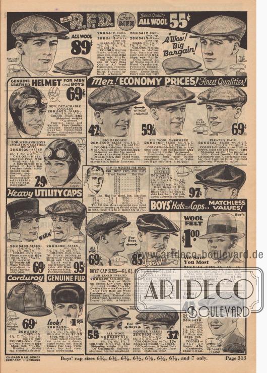 Schiebermützen und andere Kopfbedeckungen für Alt und Jung&#x3B; darunter auch Fliegerkappen aus echtem und imitiertem Leder.