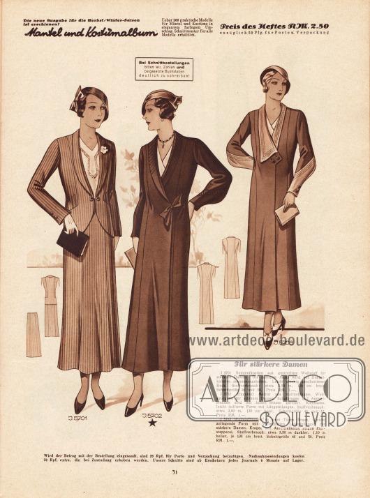 5701: Sommerkostüm aus gestreiftem Wollstoff für stärkere Damen. Die taillierte Jacke wird mit Doppelknöpfen zusammengehalten. Leicht glockig geschnittener Rock.5702: Eleganter Mantel aus marineblauem Wollgeorgette für stärkere Damen. Schalkragen und Ärmelblenden sind mit feinen Biesen garniert. Kleidsame, leicht taillierte Form mit Längsteilungen.5703: Wollstoffmantel in zwei Tönen Braun. Leicht anliegende Form mit vorteilhaften Längsteilungen für stärkere Damen. Kragen und Ärmelansätze zeigen Zierstepperei.