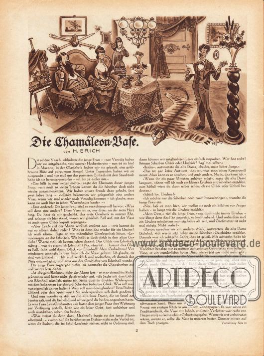Artikel:Erich, H., Die Chamäleon-Vase.Zeichnung: Hans Kossatz (1901-1985).