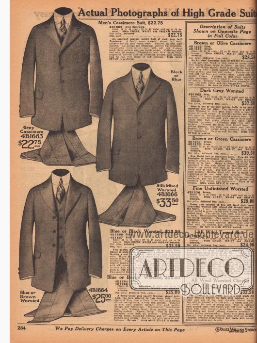 """""""Echte Fotografien von hochwertigen Anzügen"""" (engl. """"Actual Photographs of High Grade Suits""""). Drei einreihige Sakkoanzüge mit jeweils drei Knöpfen im konservativen Stil aus grauer Kaschmirwolle, gekämmtem Seiden-Woll-Mischgewebe (Blau oder Schwarz) oder marineblauem oder dunkelbraunem Woll-Baumwoll-Mischstoff. Die Sakkomodelle sind nur leicht tailliert, zeigen schmale Schultern und warten mit eingearbeiteten Taschen und Taschenklappen auf. Alle Modelle werden mit passender Weste und einem Hosenpaar geliefert. V-förmige, kurze Revers, ein Modell mit fallendem Revers."""