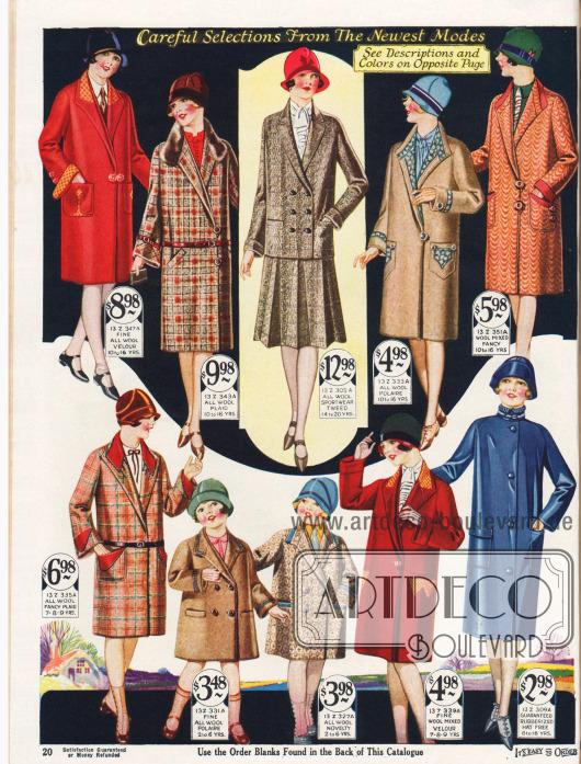 """Frühjahrsmäntel für Mädchen im Alter von 10 bis 16 Jahren oben und Mäntel für 2 bis 9-jährige Mädchen unten.Die Mäntel sind aus Woll-Velours, Woll-Mischgewebe und """"wool polaire"""". Der zweite Mantel von oben links ist mit französischem Kaninchenfell verbrämt.Auch ein Kostüm mit doppelreihigem Jackett und ein Regenmantel aus blauem gummierten Gewebe für Mädchen werden auf dieser Seite angeboten."""
