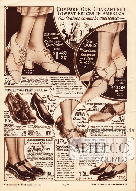 """Schnallenschuhe und Sportoxfords für Damen und junge Frauen sowie Schuhe für Mädchen ab 6 Jahre aus Kanevas (engl. """"canvas""""), Lackleder, Kalbsleder, Chevreauleder (Ziegenleder) oder Wapitileder (engl. """"elk"""").Die Damenschuhe (oben) aus Kanevas sind die passenden Schuhe für warme Sommertage. Darunter befinden sich Schuhe mit niedrigen Absätzen für Mädchen für verschiedene Anlässe."""