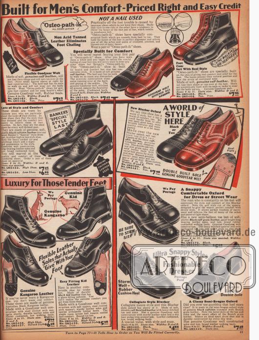 Elegante Anzugschuhe und Schnür-Stiefeletten für Männer aus Ziegen-, Rinds- oder auch Känguruleder. Die Schuhe versprechen angenehmen Tragekomfort auch für empfindliche Männerfüße. Hübsche Nähte und kunstvolle Perforationen versprechen auch eine schöne Optik.