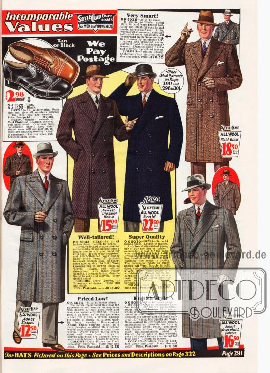 Ausschließlich zweireihige Mäntel für Männer aus Wollstoffen mit diagonaler Musterung, Fischgrätenmuster, kariert oder ungemustert. Preise rangieren zwischen 12,50 und 22,50 Dollar. Ein Paar Herrenschuhe wird außerdem oben links gezeigt.
