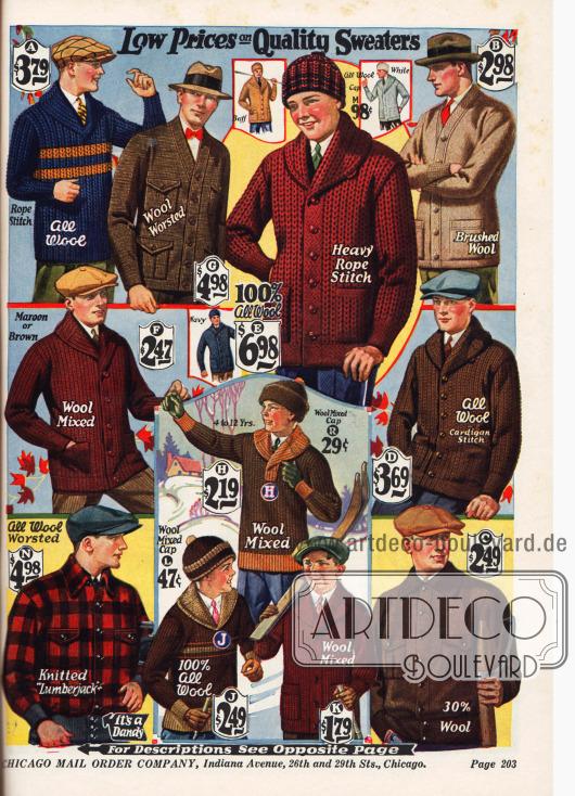 Strickjacken, Holzfällerjacken und Pullover für Männer und Jungen.