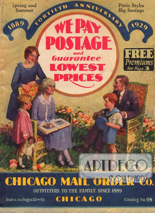 Titelseite des Frühjahr/Sommer Versandhauskatalogs Nr. 98 der Firma Chicago Mail Order Company aus Chicago, Illinois, USA von 1929.