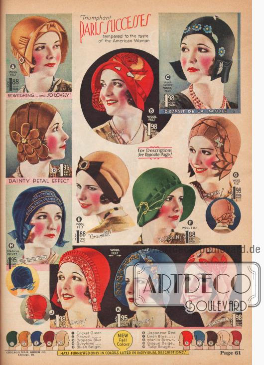 Stirnfreie Kappen aus Wolle in fröhlich-farbigen Designs und mit phantasievollen und abwechslungsreichen Ornamenten.