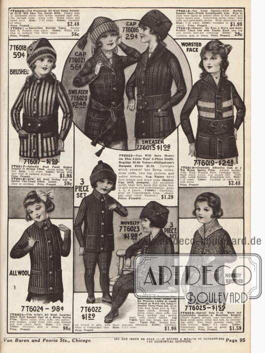 Strickjacken mit Gürteln für Mädchen im Alter von einem bis zwölf Jahren aus Wolle und Angora Wolle. Alle Pulloverjäckchen besitzen kleine Taschen. Im unteren Bildmittel befindet sich ein dreiteiliger und warmer Strickanzug (einmal sitzend und einmal stehend dargestellt) für Mädchen bis drei Jahre.