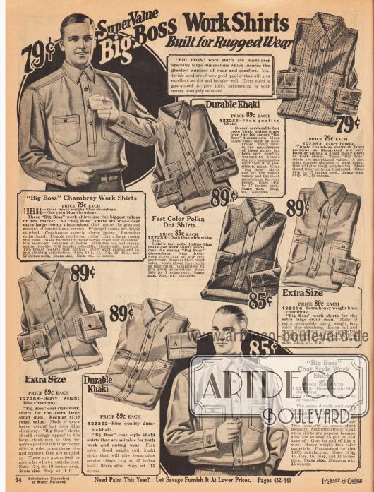 """Widerstandsfähige und belastbare Arbeitshemden mit Nahtverstärkung, Doppelnähten und aufgenähten Brusttaschen aus Chambray, """"Tupelo"""" Chambray oder Khakigewebe. Die Hemden sind unifarben, gemustert oder mit Polka Punkten (engl. """"Polka dots"""") versehen."""
