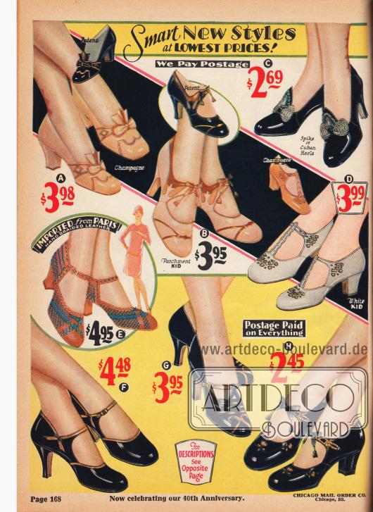 """Spangenschuhe, Schuhe mit T-Schnalle und Pumps aus Chevreauleder (Ziegenleder) und Lackleder. Die Damenschuhe zeigen wahlweise schlanke, hohe Absätze (engl. """"Spike Heels"""") oder moderat hohe, dicke Absätze (engl. """"Cuban Heels""""). Schleifchen, Metall-Ornamente, farblich kontrastierende Lederverarbeitungen, Leder-Applikationen und Ausstanzungen geben jedem Modell eine charakteristische Note. Ein Paar aus von Hand geflochtenem Leder (E) ist in der Mitte links. Die Schuhe wurden direkt aus Paris importiert (""""Imported from Paris""""). Diese sogenannten Huaraches Schuhe wurden in den 1930ern besonders populär."""