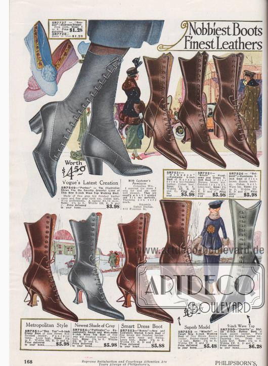 """""""Exklusivste Stiefel – Feinste Ledersorten"""" (engl. """"Nobbiest Boots – Finest Leathers""""). Hochwertige Schnürstiefel aus Chevreauleder (Ziegenleder), Juchtenleder (engl. """"Russia leather"""") oder Lackleder für Frauen. Das Stiefelmodell oben links ist mit einem Schaft aus grauem Stoff ausgestattet, das Modell rechts unten wird über eine seitliche Knopfleiste verschlossen. Die Absätze sind wahlweise Louis XIV oder Kubanische Absätze. Schuhe mit spitzen Kappen und leichten Lochlinienverzierungen. Ganz oben links werden Hauspantoffeln bzw. """"Boudoir Slipper"""" aus nicht näher definiertem Stoff mit Pompon offeriert."""