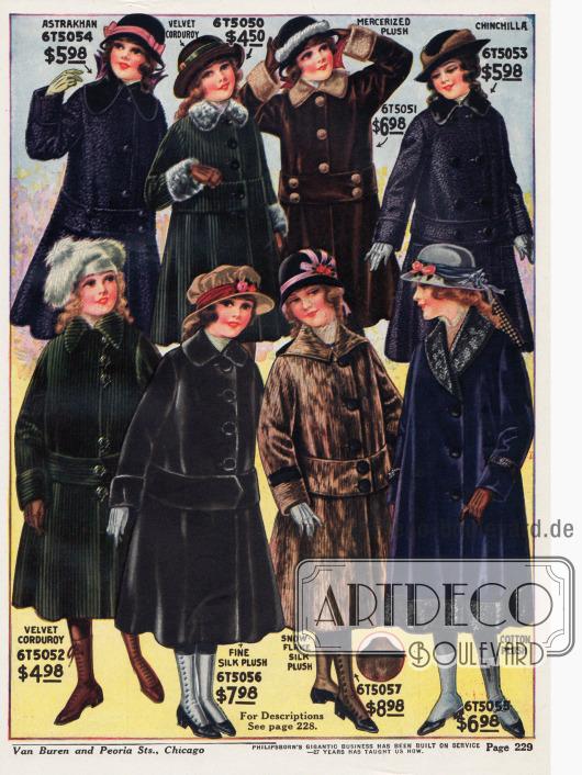 Wadenlange Wintermäntel für Mädchen zwischen 7 und 14 Jahren aus Astrachan, Samtkord, merzerisiertem Plüsch, Chinchillapelz, Seiden-Plüsch und Baumwoll-Plüsch.Auffallend bei nahezu allen Mänteln sind die breiten Gürtelbänder, die auch bei den großen Damen gerade so sehr in Mode sind. Einige Mäntel zeigen Pelzverbrämungen an Kragen, Ärmelaufschlägen und Saum.