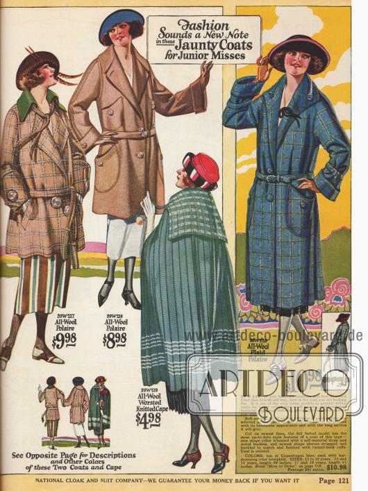 Polo- und Sportmäntel aus Woll-Polaire sowie ein Umhang aus gestrickter Wolle für junge Damen.