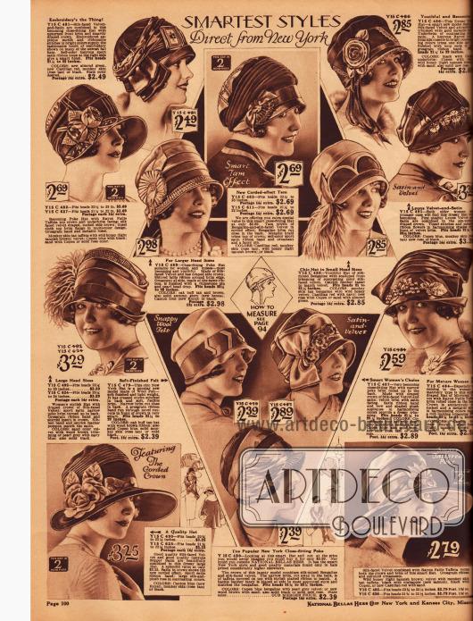 """Kleidsame Damenhüte: """"eleganteste Stile direkt aus New York"""". Die Hüte kosten zwischen 2,39 und 3,39 $."""