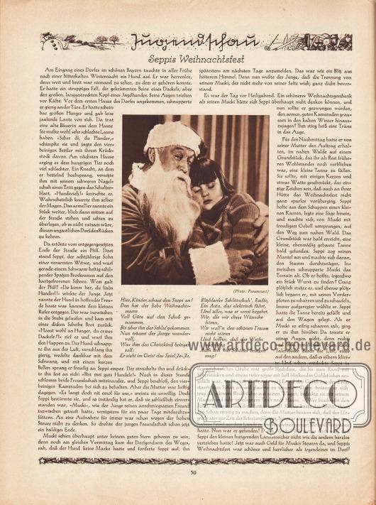 Artikel (Jugendschau): O. V., Seppis Weihnachtsfest.  Im Zentrum des Textes ist eine Fotografie abgedruckt, die einen schlafenden Jungen im Pullover zeigt, der auf dem Schoß des Weihnachtsmannes sitzt und an ihn angelehnt schläft. Der Weihnachtsmann schaut dabei lächelnd in die Kamera. Foto: Paramount.