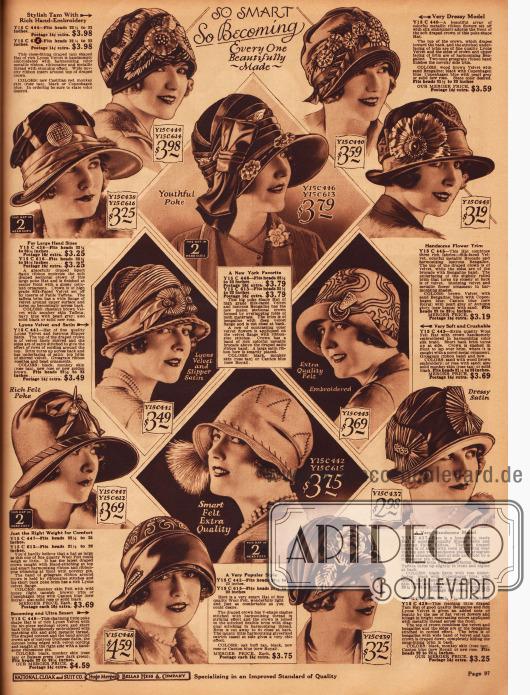Doppelseite mit 24 kleidsamen Damenhüten für den kommenden Winter 1927/28.Seitliche Ornamente, seien es Federn, Blüten oder Broschen, zeigen sich an sehr vielen der gezeigten Hutmodelle.
