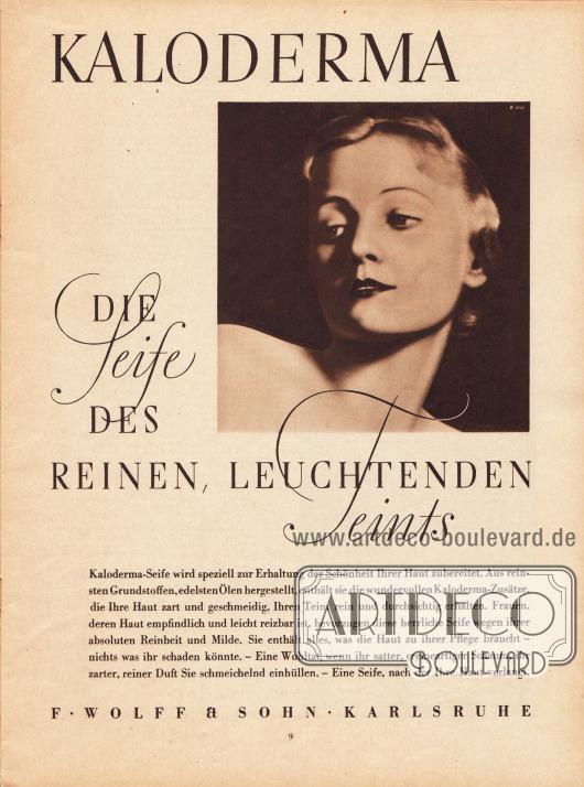 Werbung: Kaloderma, die Seife des reinen, leuchtenden Teints, F. Wolff & Sohn Karlsruhe. Foto: unbekannt.