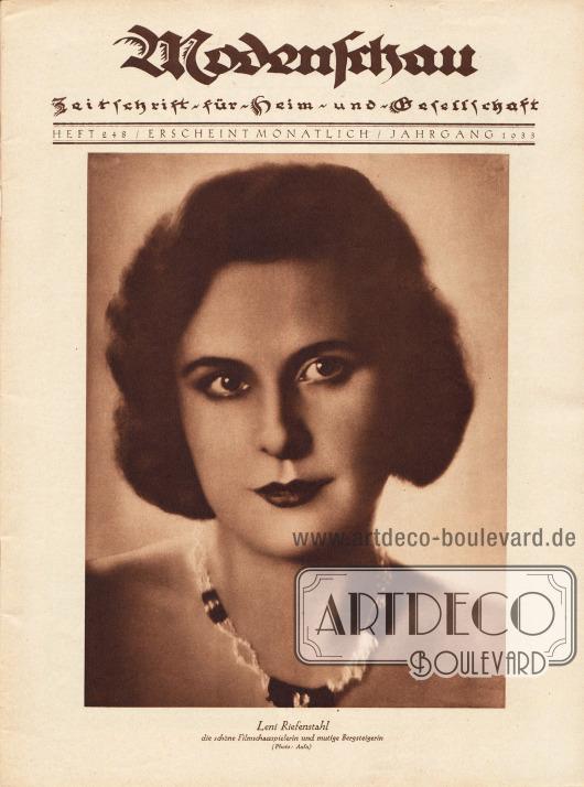 Titelblatt mit dem großformatigen Portrait der Filmschauspielerin, Bergsteigerin und späteren Filmregisseurin Leni Riefenstahl (1902-2003).Foto: Aafa.