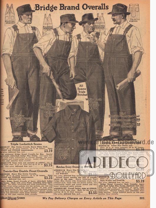 """Arbeitskleidung aus Jeansstoffen (engl. """"Indigo Blue Denim"""") für Männer. Die Overalls sowie die Jacke unten zeigen doppelt ausgeführte Nähte an Beinen, Brust, Taschen und Gürteln, um eine möglichst lange Haltbarkeit zu gewährleisten."""