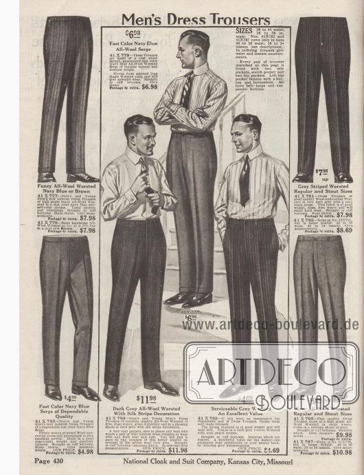 """""""Anzughosen für Männer"""" (engl. """"Men's Dress Trousers""""). Wechselhosen für elegante Geschäfts- oder Straßenanzüge aus gestreifter oder einfarbiger Kammwolle, gekämmtem Woll-Serge, gestreifter Baumwoll-Kammwolle oder gekämmter Baumwolle mit Nadelstreifen. Die Hosen konnten nach Wahl mit oder ohne Hosenaufschläge geliefert werden."""