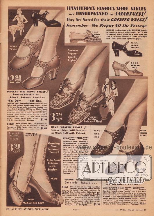 """""""Hamiltons berühmte Schuhmoden sind unübertroffen in Schick und Eleganz! Sie sind bekannt für ihren höheren Wert! Denken Sie daran – wir zahlen das gesamte Porto im Voraus"""" (engl. """"Hamilton's Famous Shoe Styles are Unsurpassed in Smartness! They Are Noted for their Greater Value! Remember – We Prepay All The Postage""""). Ein Paar Pumps, zwei Schnallenschuhe mit unterschiedlich breiten Riemchen sowie ein Paar Sport-Oxfords aus Chevreauleder (Ziegenleder) oder Lackleder für stilbewusste Damen. Unterschiedlich farbige Ledersorten sind an zwei Modellen zu finden. Die Schnallenschuhe zeigen kunstvolle Ausstanzungen und Perforationen. Während die Schnallenschuhe und das Paar Pumps mittelhohe kubanische Absätze zeigen, besitzt das sportliche Oxford-Paar flache Sohlen."""