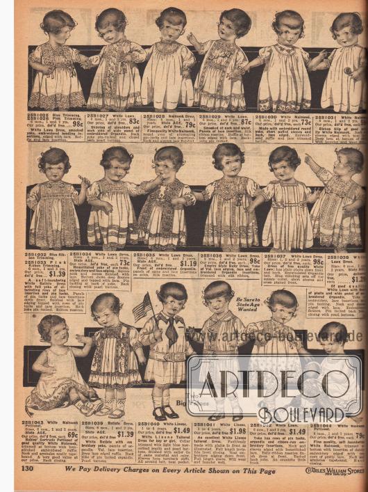 Kleidchen für Säuglinge, Babys und Kleinkinder bis 4 Jahre. Die weiten Hängekleidchen und Hemdchen ohne Höschen sind aus Linon, Batist, Organdy oder Nainsook (leichter Baumwollmusselin). Die Babyhemden sind mit Spitzeneinsätzen, Spitzenborten, Stickereien, Hohlnähten, Biesen oder kleinen Schleifchen verschönt. Die Aufmachungen reichen von einfach bis üppig.