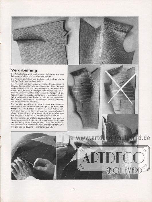 Artikel: O. V., Verarbeitung. Seite mit exakten Anweisungen und Fotografien, wie ein Achselzwickel eingesetzt und die Achsel pikiert wird. Fotos: Hänsel & Co. Aktiengesellschaft.
