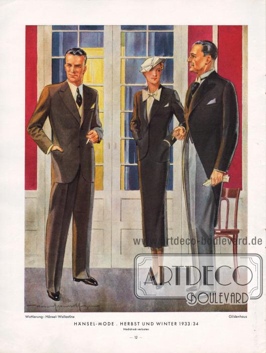 Obwohl Grau oder Braun für einen formellen Anlass oder den Abend durchaus tragbar sind, ist Schwarz immer noch die bevorzugte Farbe für den Smoking oder den Frack. Der schwarze Frack kann mit einer grauen Hose (linke Seite, rechtes Modell) kombiniert werden. Der Vatermörderkragen wird in den 1930er Jahren noch immer für Smoking und Frack gern getragen.Zeichnung: Harald Schwerdtfeger.