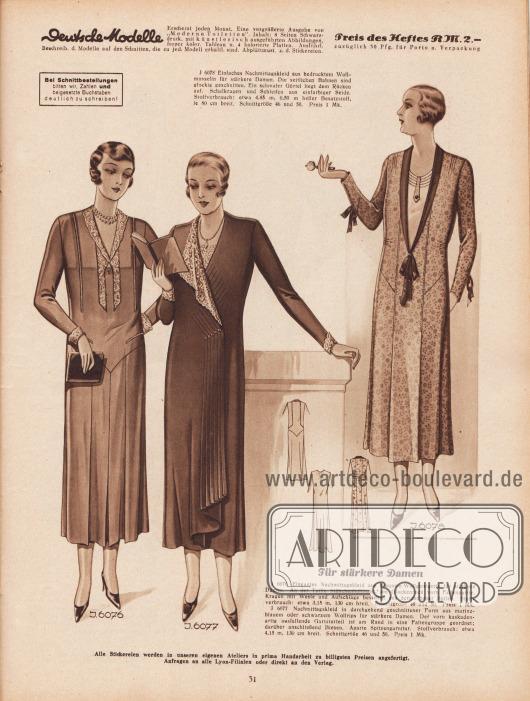 """""""Für stärkere Damen"""". 6076: Elegantes Nachmittagskleid aus braunem Wollgeorgette für stärkere Damen. An der Taille Stäbchenhohlnaht, am Glockenrock vorn Faltenpartie. Kragen mit Weste und Aufschläge bestehen aus écrufarbener Spitze. 6077: Nachmittagskleid in durchgehend geschnittener Form aus marineblauem oder schwarzem Wollrips für stärkere Damen. Der vorn kaskadenartig ausfallende Garniturteil ist am Rand in eine Faltengruppe geordnet; darüber anschließend Biesen. Aparte Spitzengarnitur. 6078: Einfaches Nachmittagskleid aus bedrucktem Wollmusselin für stärkere Damen. Die seitlichen Bahnen sind glockig geschnitten. Ein schmaler Gürtel liegt dem Rücken auf. Schalkragen und Schleifen aus einfarbiger Seide."""