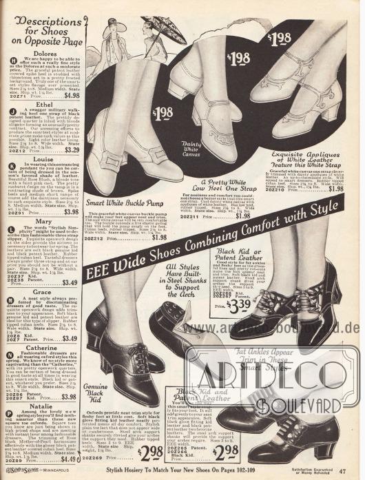 """Sommerschuhe aus luftigem, weißen Kanevas oben und Schuhe aus Lackleder oder Chevreauleder (Ziegenleder) für Damen mit breitem Fußballen oder Spreizfuß unten, die bequeme Schuhe benötigen. Die Kanevas-Schuhe (zwei Schnallenschuhe und ein Pump) sind entweder mit weißen, kunstvollen Ledermotiven oder einer dekorativen Schnalle versehen. Die """"EEE Wide Shoes"""" sind drei Modelle für Damen mit stärken Füßen. Zur Unterstützung des Fußgewölbes sind den drei Modellen Stahlzungen in die Sohlen eingesetzt worden. Gezeigt werden hier ein Oxford Modell und zwei Pumps mit großen Verschlusslaschen die mit ornamentalen Ausstanzungen versehen sind. Niedrige Militärabsätze."""