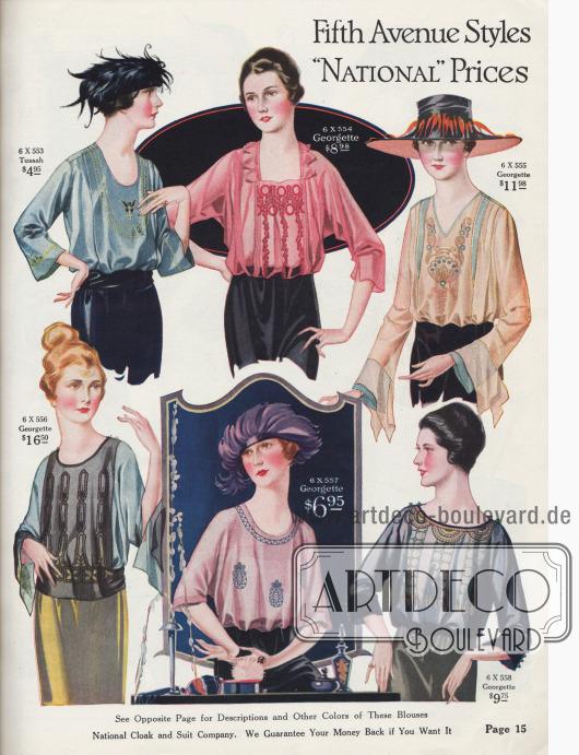 """""""Fifth Avenue Modelle – 'National' Preise"""" (engl. """"Fifth Avenue Styles – 'National' Prices""""). Mondäne Kleiderblusen für Damen aus Tussah-Seide oder Seiden-Georgette Krepp mit kunstvollen, teilweise farbigen oder farblich kontrastierenden Stickereien und Perlstickereien sowie Hohlnähten. Kragenlose Blusen. Dafür sind runde, quadratische, V-förmige oder breite bzw. ovale Ausschnitte sind zu sehen. Auch die Ärmel sind vielfältig gearbeitet; entweder halb- oder dreiviertellang, geschlitzt oder leicht glockig. Drei Modelle zeigen flatterhafte Kimonoärmel. Die Preise rangieren zwischen 4,95 und 16,50 Dollar."""