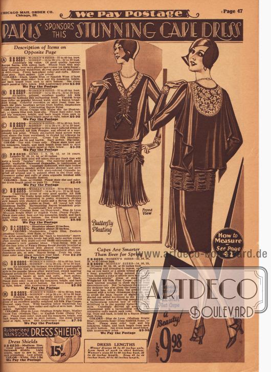 """""""Paris entsendet dieses atemberaubende Cape Kleid"""" (engl. """"Paris sponsors this Stunning Cape Dress""""). Nachmittagskleid aus Seiden Krepp mit Écruspitze mit capeartigem Stoffteil das den Rücken bedeckt. Plissierte Rockfront mit kleiner Schleife. Der Rockansatz ist durch eine gekräuselte und mit Reihenziehung fixierte Passe gekennzeichnet. Reihenziehung ebenfalls an der Brust. Unten links werden Schweißblätter für 15 Cent das Paar angeboten. In der linken Spalte sind die Beschreibungen für die Kleider auf der gegenüberliegenden Farbseite 46 zu finden."""