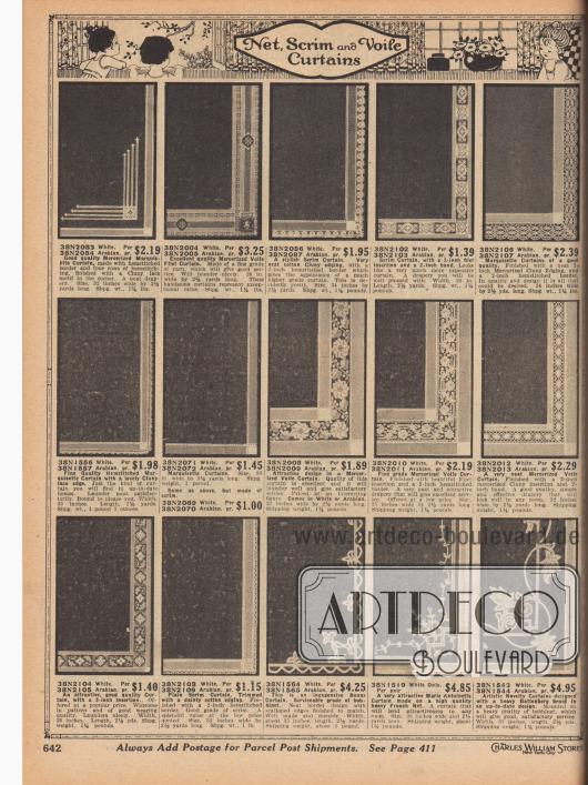 """""""Netzstoff, Gitterstoff und Voile Vorhänge"""" (engl. """"Net, Scrim and Voile Curtains""""). Elegante, leichte Fenstervorhänge und Gardinen aus merzerisiertem Marquisette, merzerisiertem Voile (Schleierstoff), grobgewebtem Baumwoll- oder Leinenstoff (engl. """"Scrim"""") oder Bobinet. Die Fertigvorhänge zeigen einfache oder äußerst kunstvolle Borten und Muster. Einzelne Vorhänge sind mit Hohlnähten, Cluny-Spitze, Filet-Einsätzen oder Bändern verarbeitet. Zwei Modelle im Battenberg-Muster oder Marie-Antoinette Stil."""